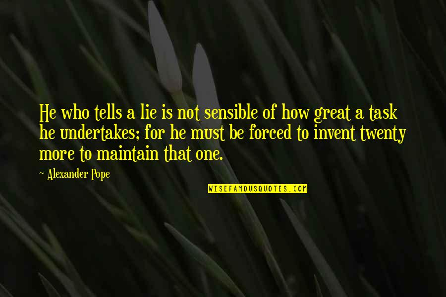 Tells Quotes By Alexander Pope: He who tells a lie is not sensible