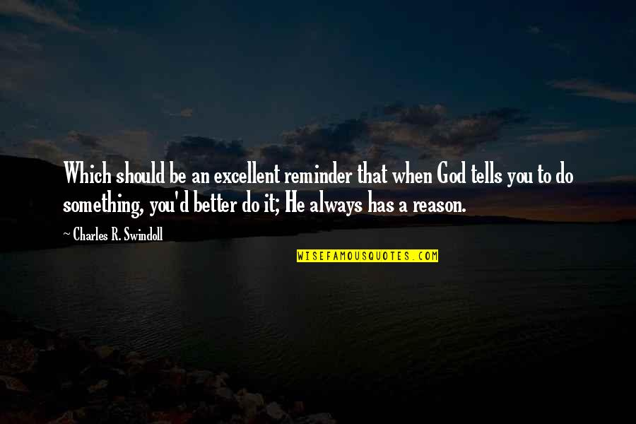Tells Quotes By Charles R. Swindoll: Which should be an excellent reminder that when