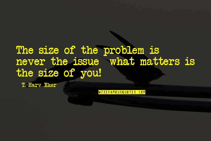 Telugu New Love Failure Quotes By T. Harv Eker: The size of the problem is never the