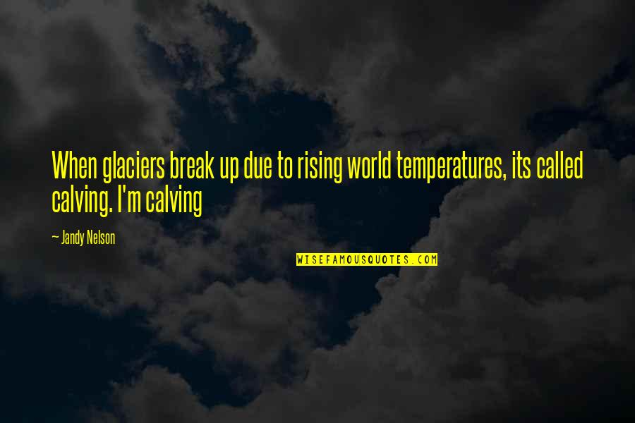 Temperatures Quotes By Jandy Nelson: When glaciers break up due to rising world