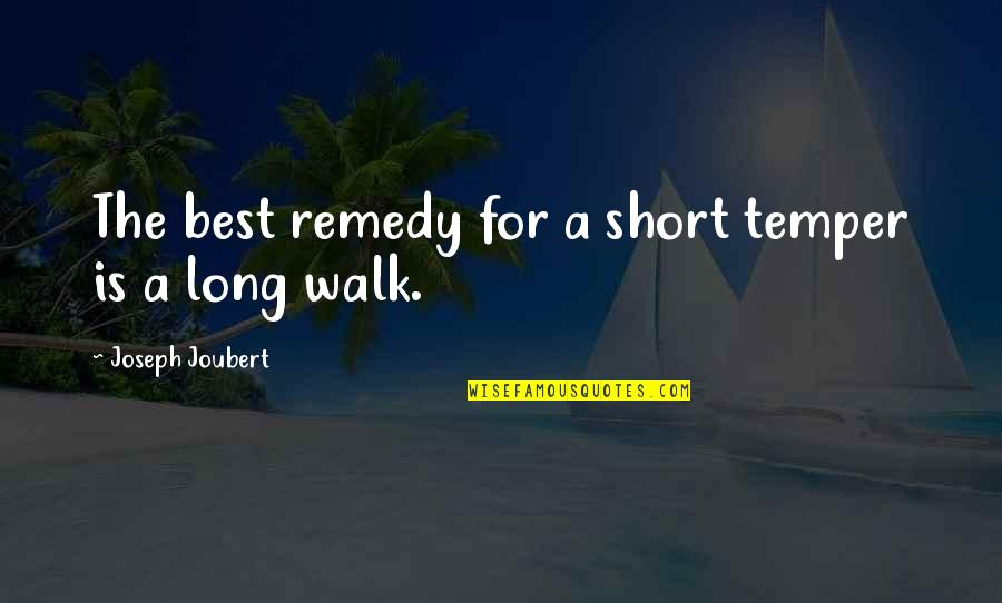 Temper'll Quotes By Joseph Joubert: The best remedy for a short temper is