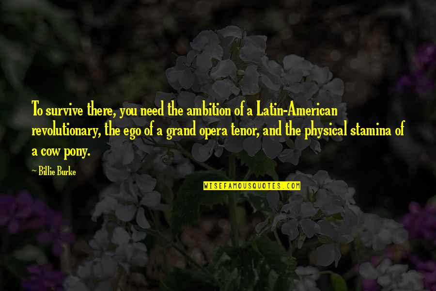Tenor Quotes By Billie Burke: To survive there, you need the ambition of