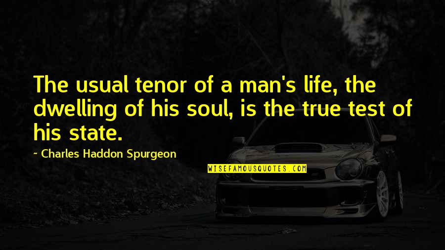 Tenor Quotes By Charles Haddon Spurgeon: The usual tenor of a man's life, the