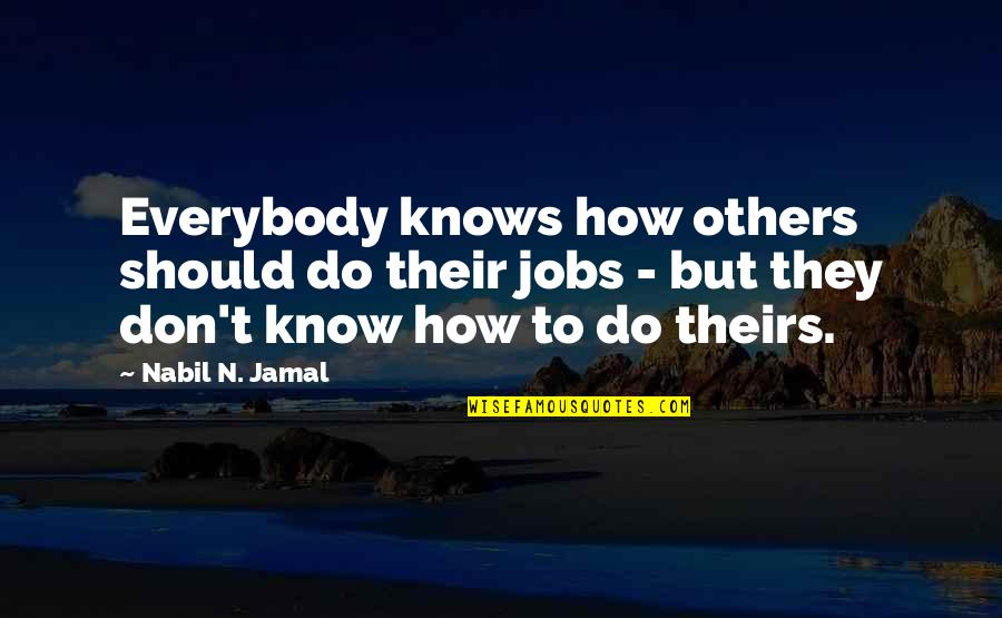 Terence Powderly Famous Quotes By Nabil N. Jamal: Everybody knows how others should do their jobs