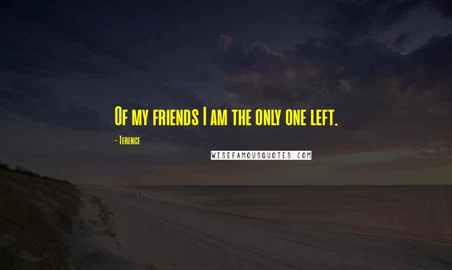Terence quotes: Of my friends I am the only one left.