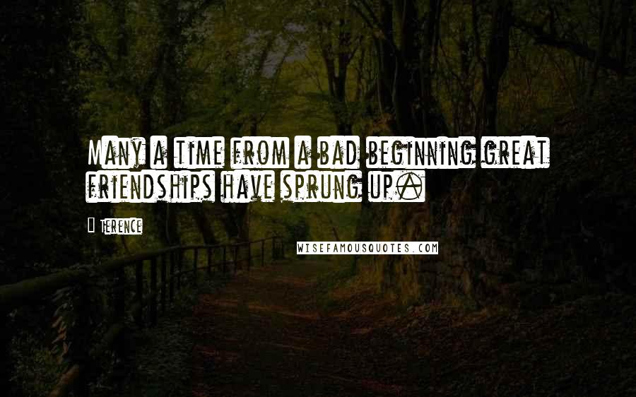 Terence quotes: Many a time from a bad beginning great friendships have sprung up.
