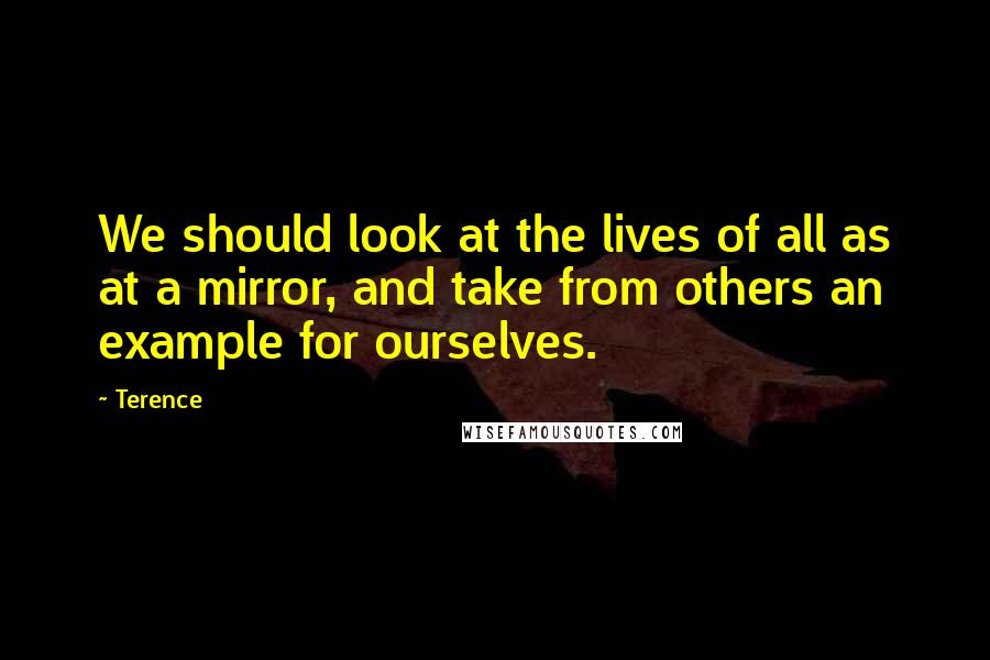 Terence quotes: We should look at the lives of all as at a mirror, and take from others an example for ourselves.