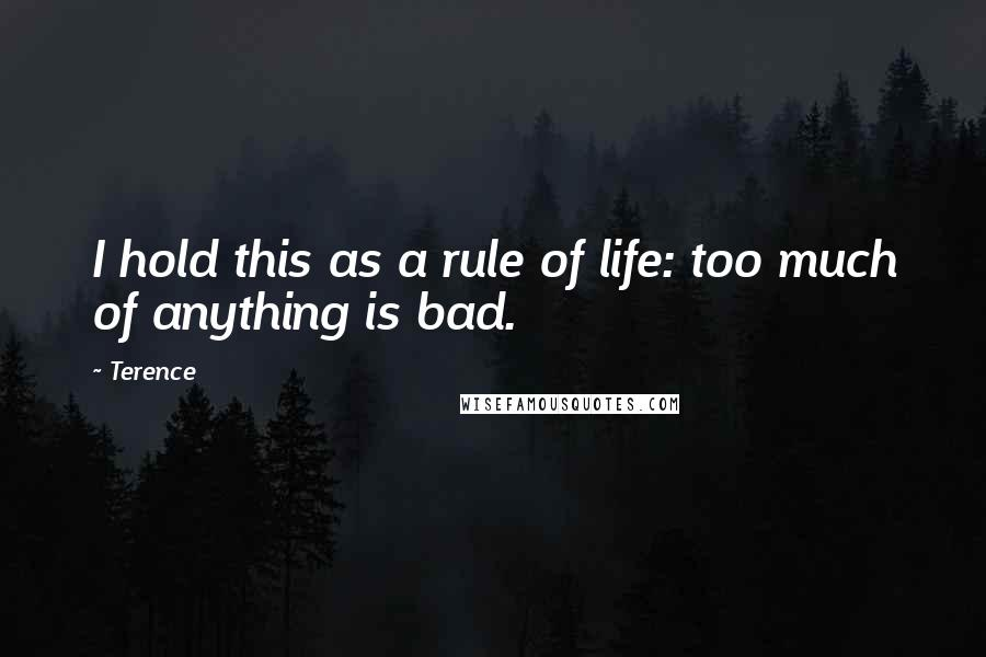 Terence quotes: I hold this as a rule of life: too much of anything is bad.