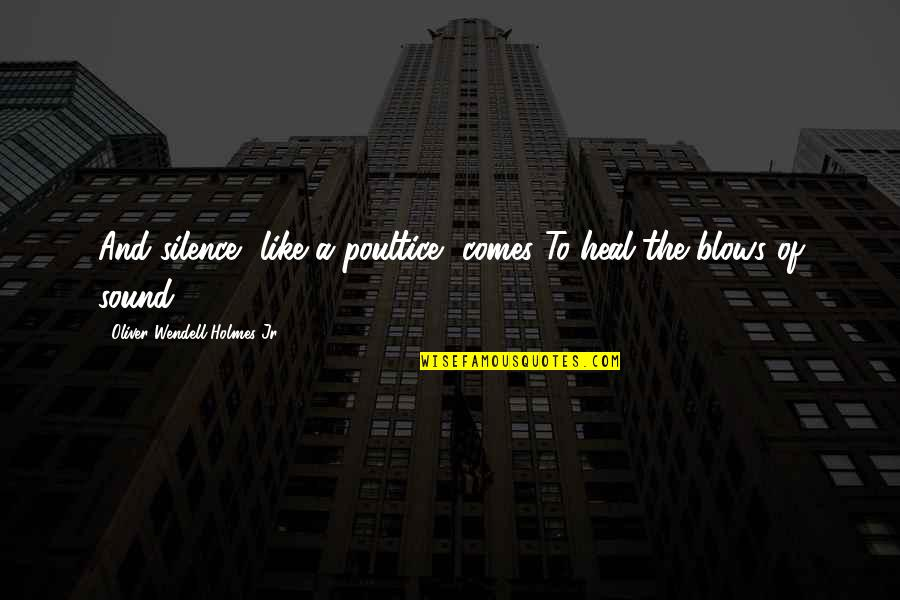 Terra Prime Quotes By Oliver Wendell Holmes Jr.: And silence, like a poultice, comes To heal