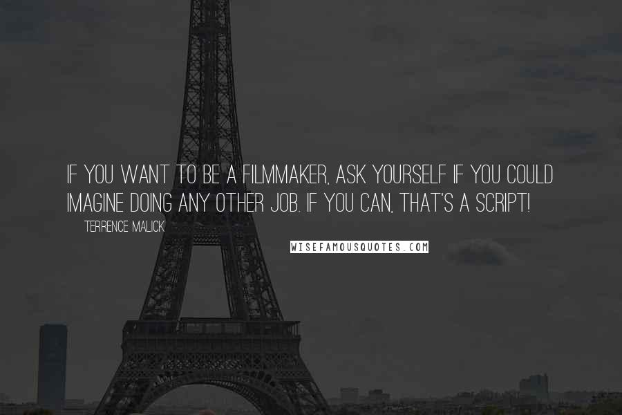 Terrence Malick quotes: If you want to be a filmmaker, ask yourself if you could imagine doing any other job. If you can, that's a script!