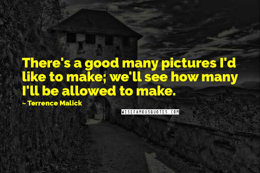 Terrence Malick quotes: There's a good many pictures I'd like to make; we'll see how many I'll be allowed to make.