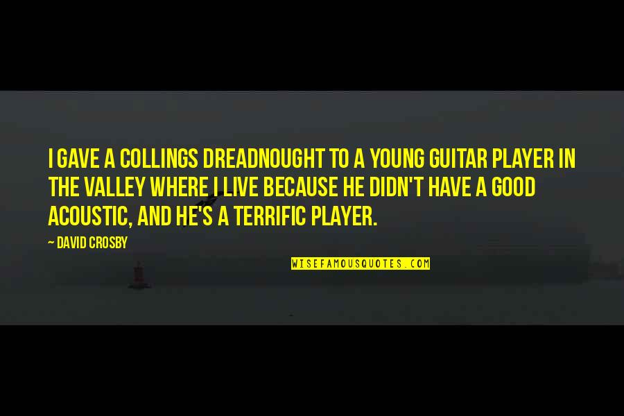 Terrific Quotes By David Crosby: I gave a Collings dreadnought to a young