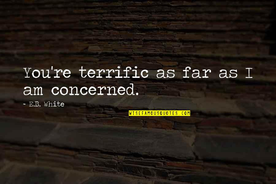 Terrific Quotes By E.B. White: You're terrific as far as I am concerned.