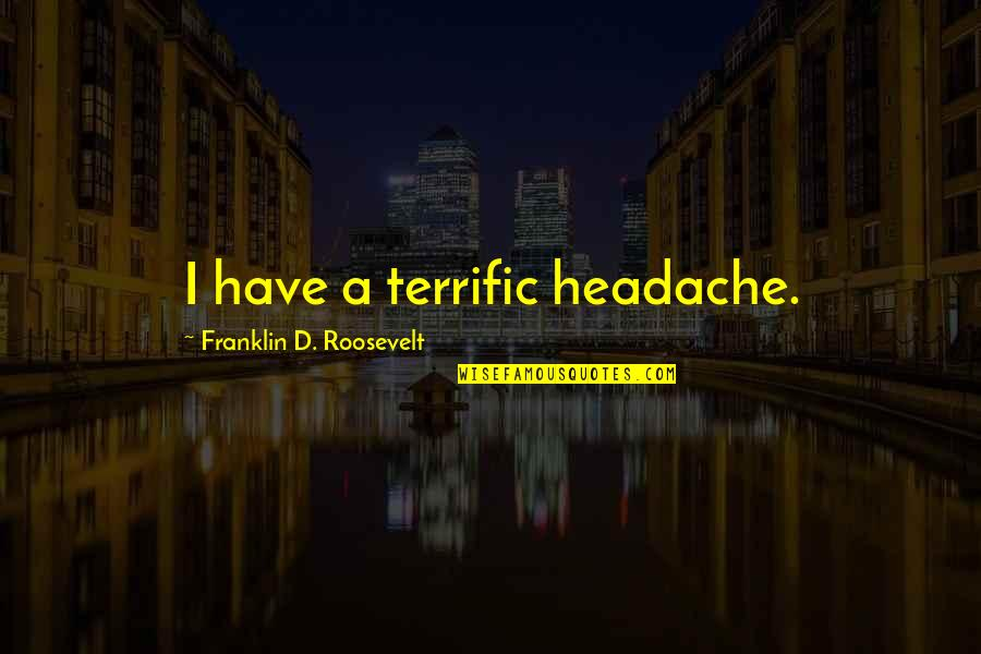 Terrific Quotes By Franklin D. Roosevelt: I have a terrific headache.