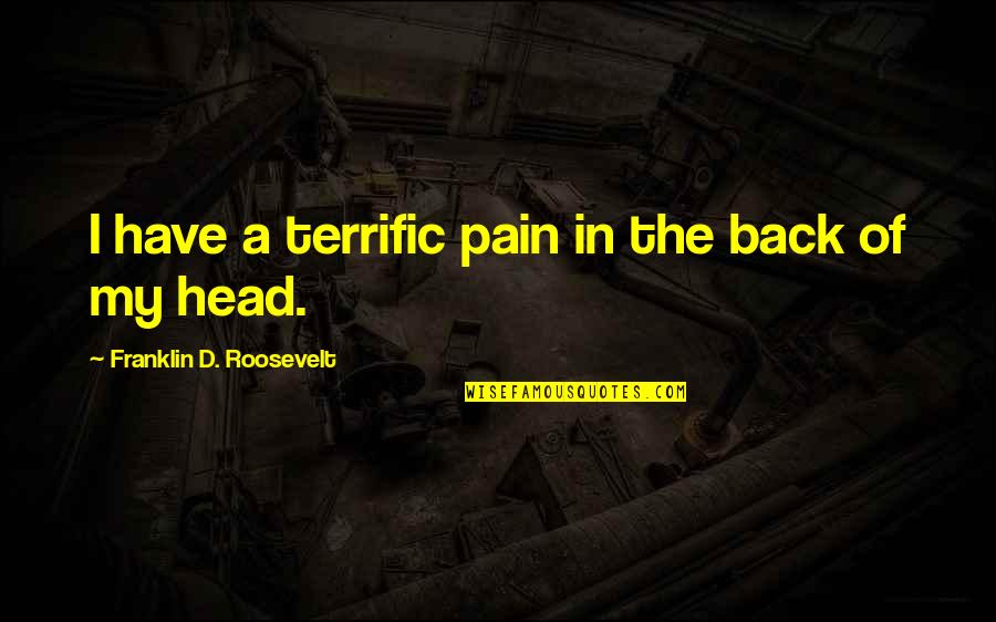 Terrific Quotes By Franklin D. Roosevelt: I have a terrific pain in the back
