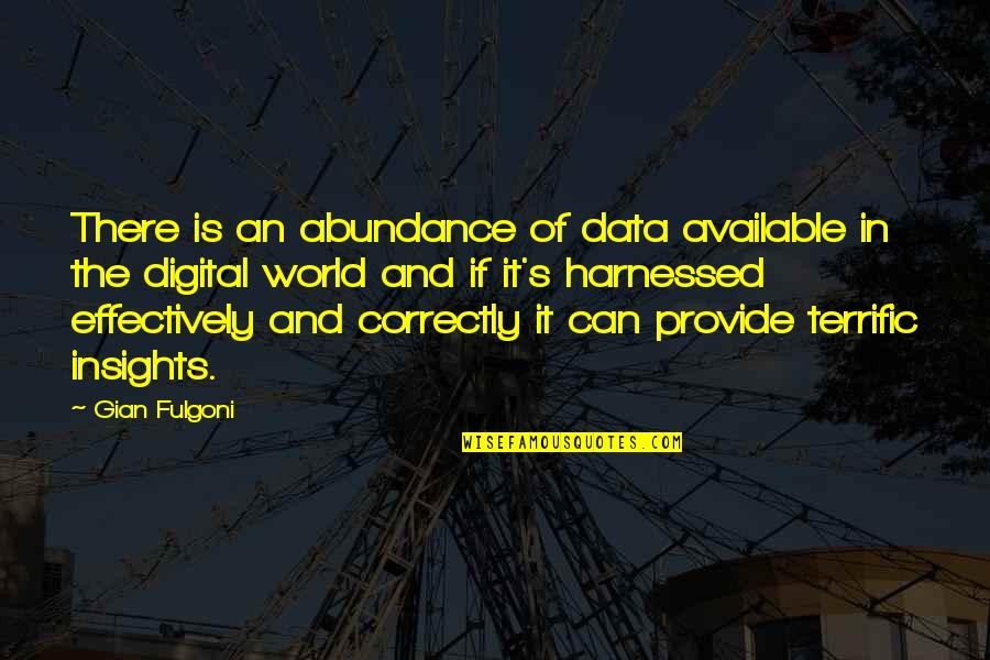 Terrific Quotes By Gian Fulgoni: There is an abundance of data available in