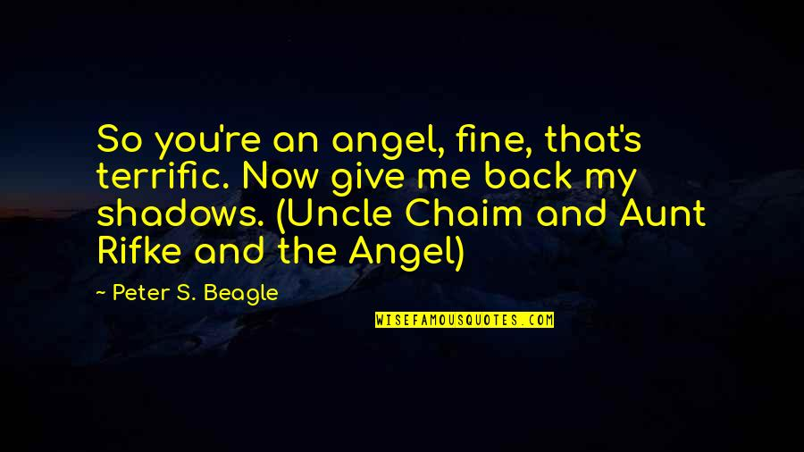 Terrific Quotes By Peter S. Beagle: So you're an angel, fine, that's terrific. Now