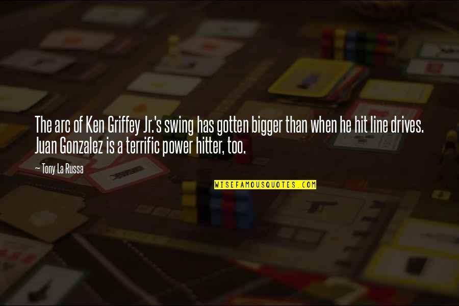 Terrific Quotes By Tony La Russa: The arc of Ken Griffey Jr.'s swing has