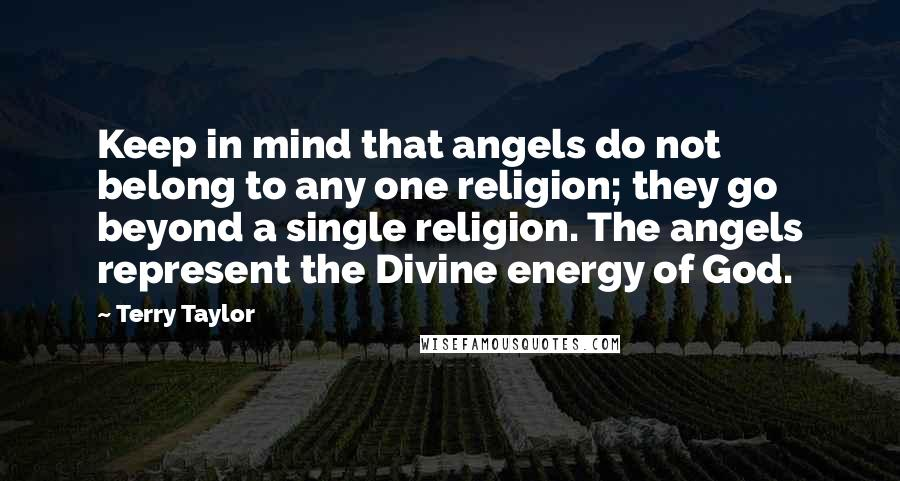 Terry Taylor quotes: Keep in mind that angels do not belong to any one religion; they go beyond a single religion. The angels represent the Divine energy of God.