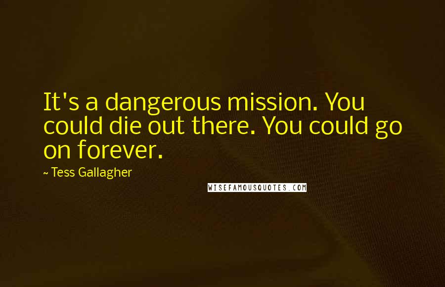 Tess Gallagher quotes: It's a dangerous mission. You could die out there. You could go on forever.