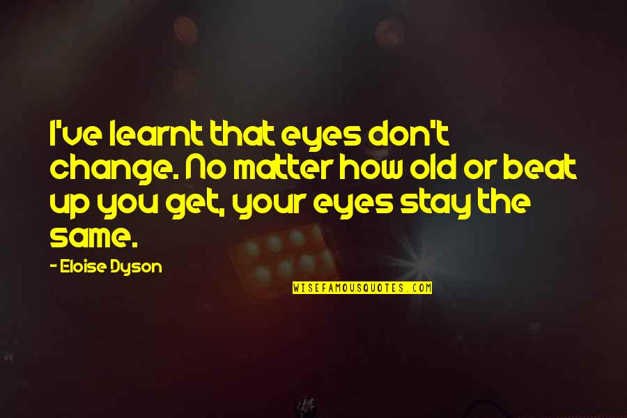 Test Pilots Quotes By Eloise Dyson: I've learnt that eyes don't change. No matter