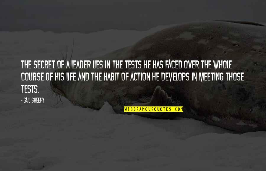 Tests In Life Quotes By Gail Sheehy: The secret of a leader lies in the