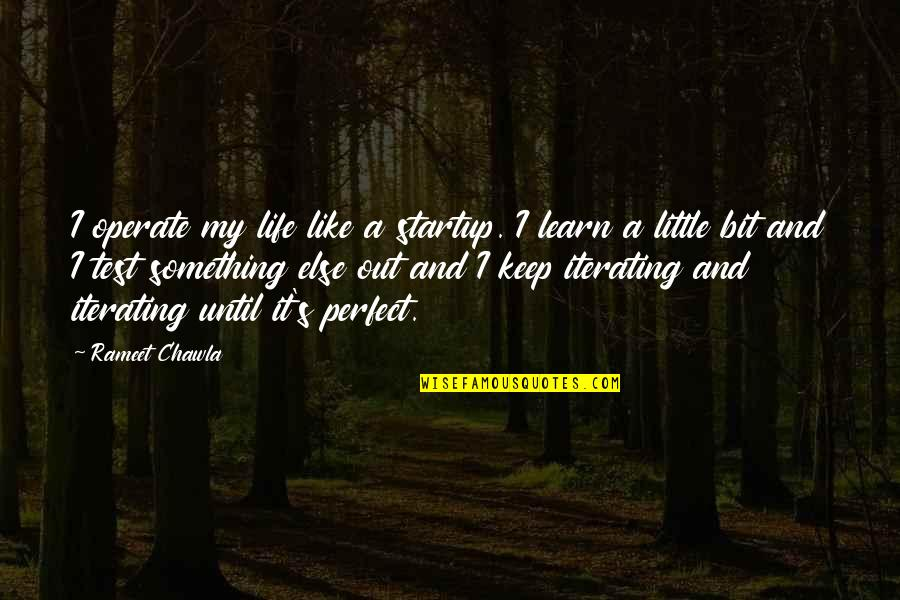 Tests In Life Quotes By Rameet Chawla: I operate my life like a startup. I