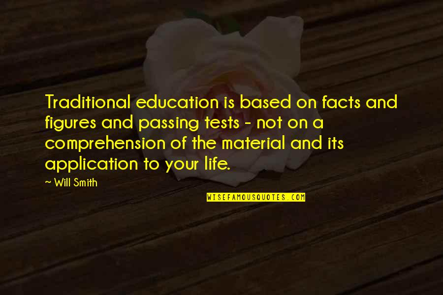 Tests In Life Quotes By Will Smith: Traditional education is based on facts and figures