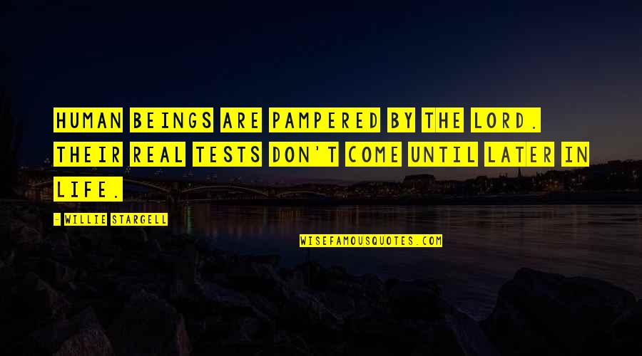 Tests In Life Quotes By Willie Stargell: Human beings are pampered by the Lord. Their