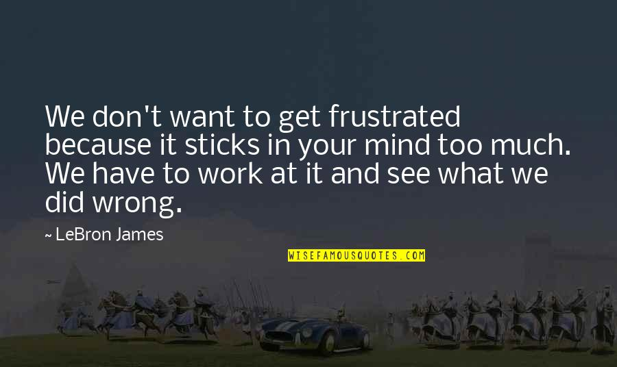 T'get Quotes By LeBron James: We don't want to get frustrated because it