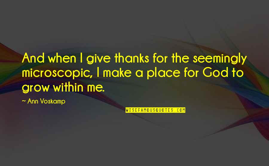 Thanks To God Quotes By Ann Voskamp: And when I give thanks for the seemingly