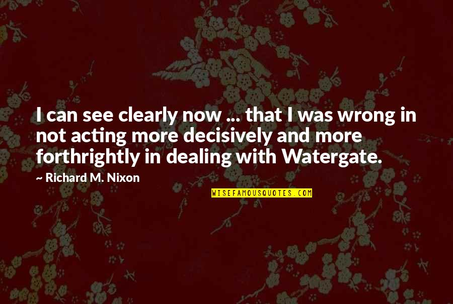 Thanks Vets Quotes By Richard M. Nixon: I can see clearly now ... that I