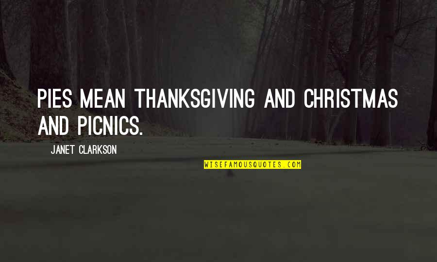 Thanksgiving Celebration Quotes By Janet Clarkson: Pies mean Thanksgiving and Christmas and picnics.