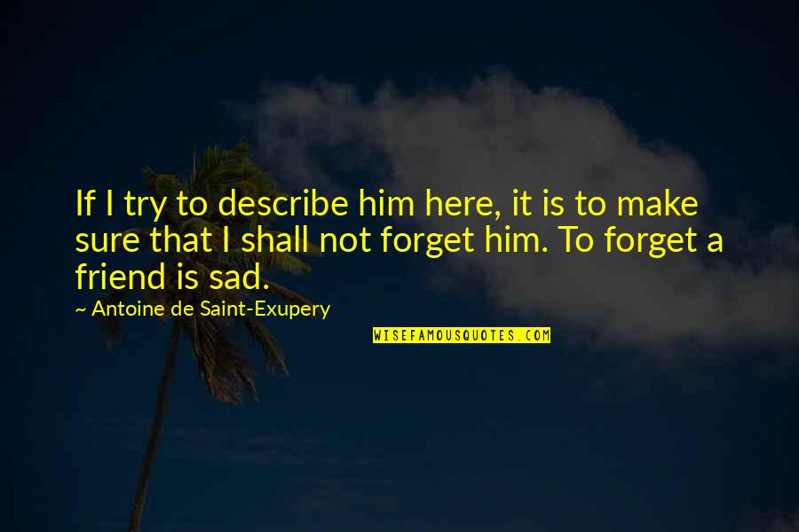 That Friend Quotes By Antoine De Saint-Exupery: If I try to describe him here, it