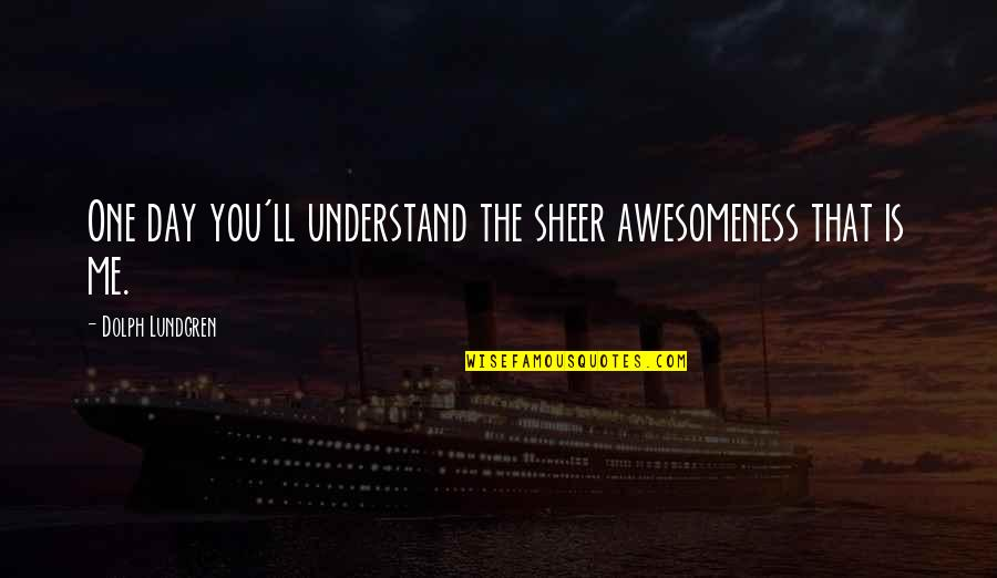 That One Day Quotes By Dolph Lundgren: One day you'll understand the sheer awesomeness that