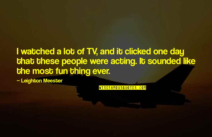 That One Day Quotes By Leighton Meester: I watched a lot of TV, and it