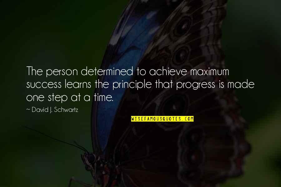 That One Person Quotes By David J. Schwartz: The person determined to achieve maximum success learns