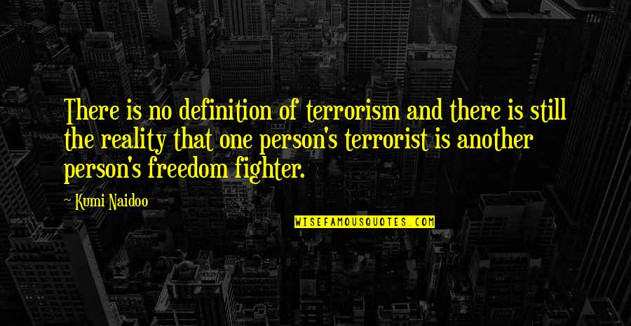 That One Person Quotes By Kumi Naidoo: There is no definition of terrorism and there
