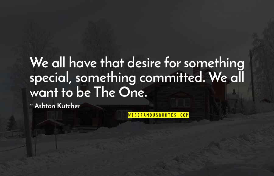 That Special One Quotes By Ashton Kutcher: We all have that desire for something special,