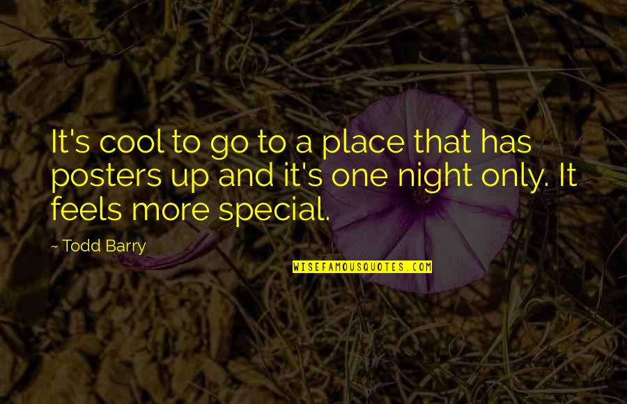 That Special One Quotes By Todd Barry: It's cool to go to a place that