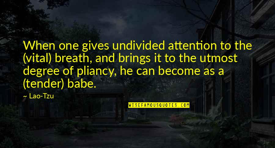 That's My Babe Quotes By Lao-Tzu: When one gives undivided attention to the (vital)