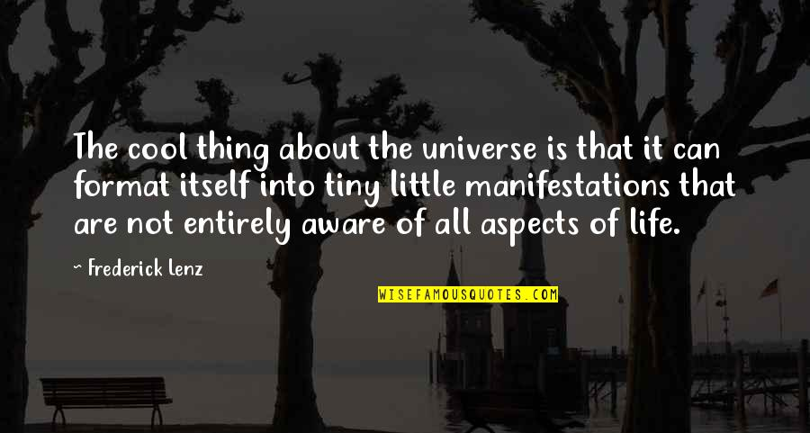 That's Not Cool Quotes By Frederick Lenz: The cool thing about the universe is that