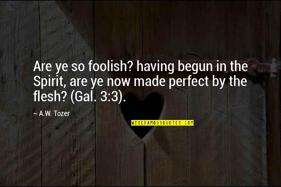 The 3 Quotes By A.W. Tozer: Are ye so foolish? having begun in the