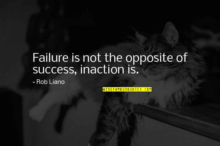 The Act Quotes By Rob Liano: Failure is not the opposite of success, inaction