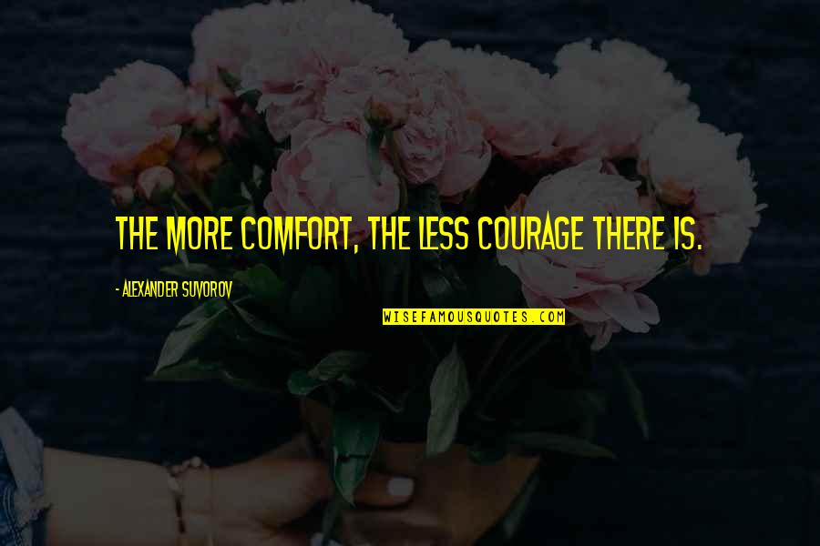 The Armed Forces Quotes By Alexander Suvorov: The more comfort, the less courage there is.