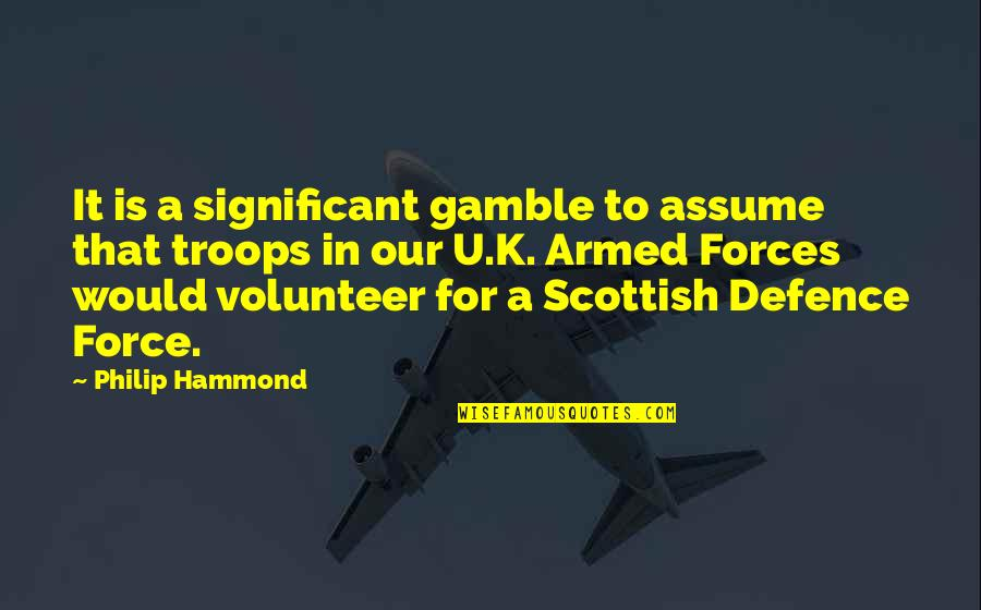 The Armed Forces Quotes By Philip Hammond: It is a significant gamble to assume that