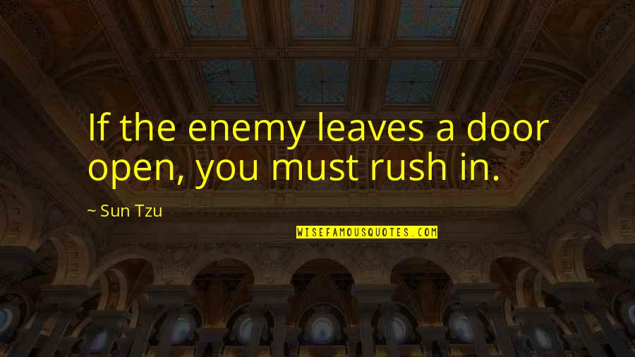 The Art Of War Quotes By Sun Tzu: If the enemy leaves a door open, you