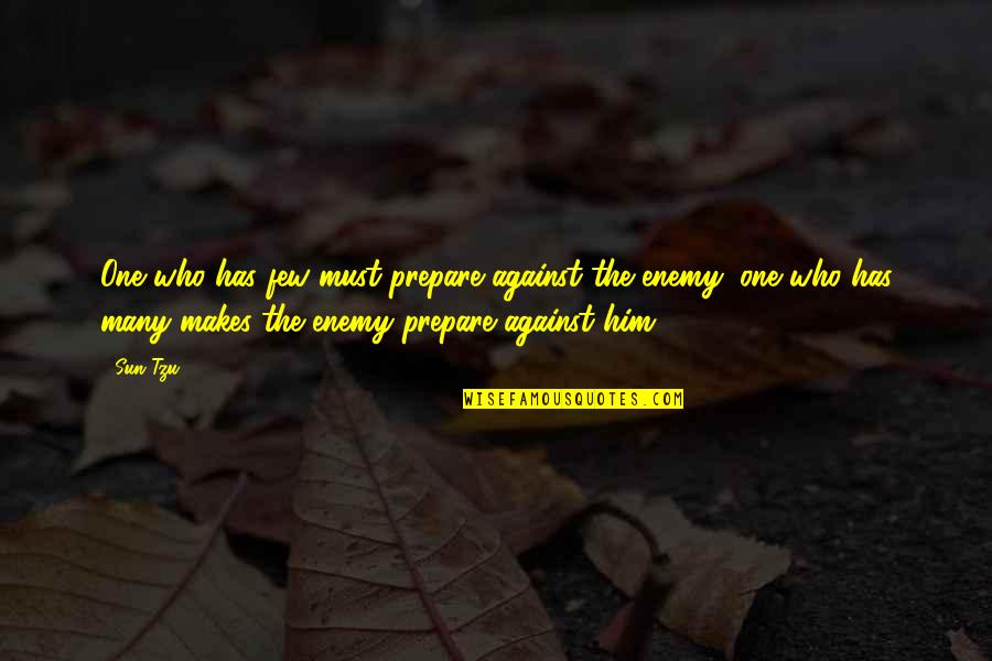 The Art Of War Quotes By Sun Tzu: One who has few must prepare against the