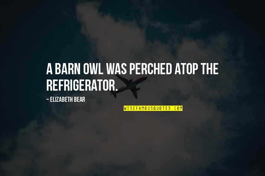 The Barn Quotes By Elizabeth Bear: A barn owl was perched atop the refrigerator.