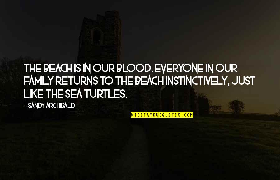 The Beach And Family Quotes By Sandy Archibald: The beach is in our blood. Everyone in